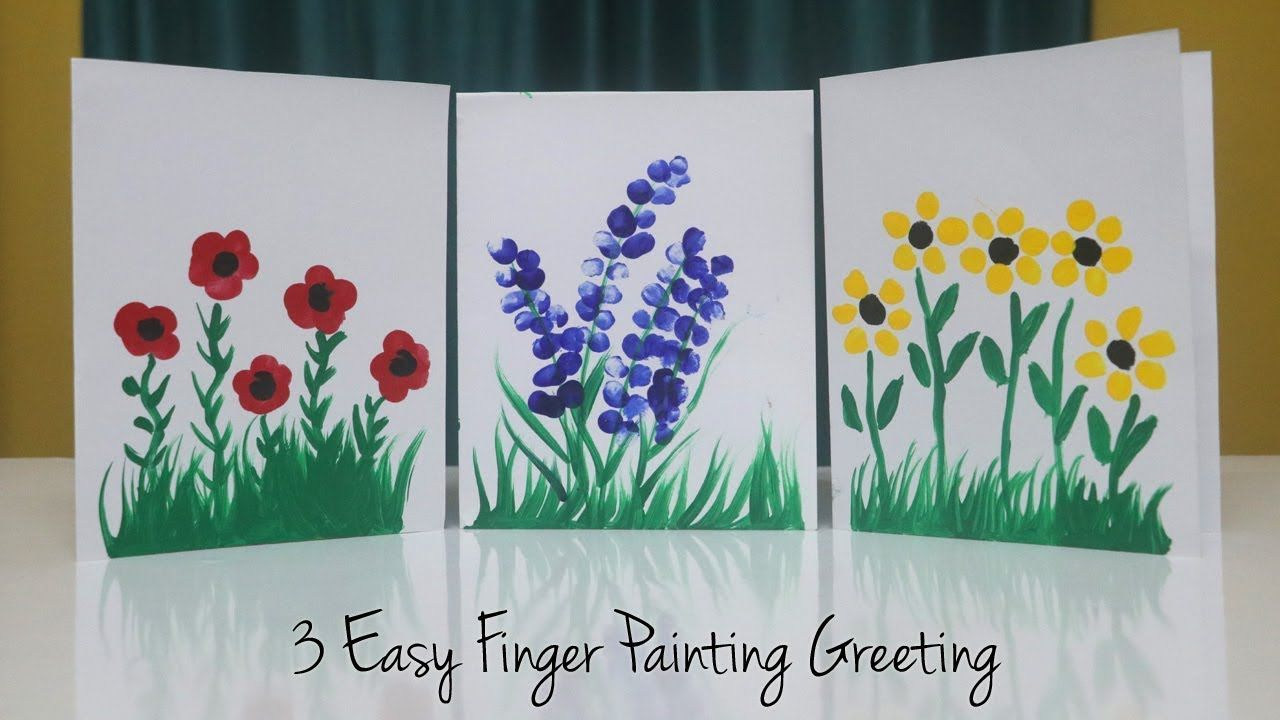 3 Easy Finger Painting Greeting Card Ideas Teacher S Day Card