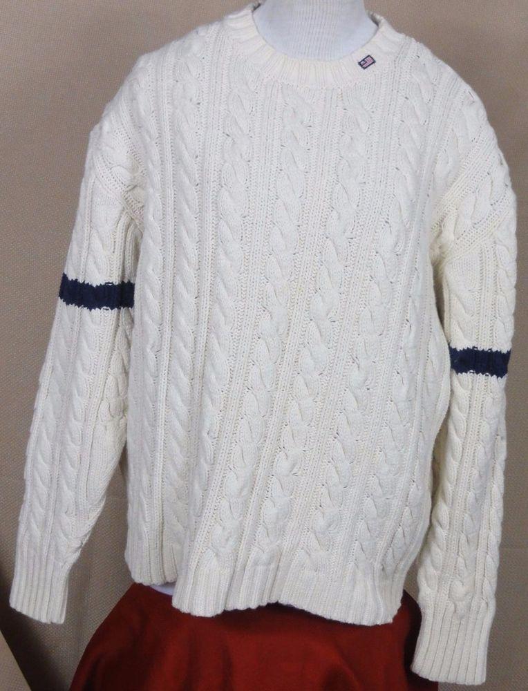 Polo Jeans Co By Ralph lauren Men's White Cotton Cable Knit ...