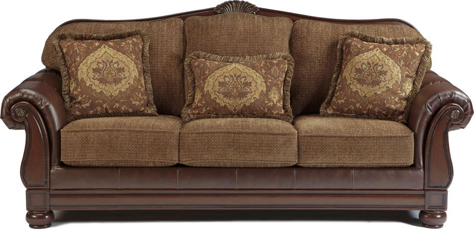 Two Tone Traditional Sofa with Wood Trim Accents  Living Room