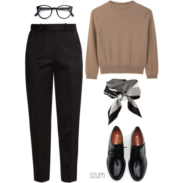 A fashion look from August 2013 featuring brown crew neck sweater, tuxedo  trousers and black oxfords. Browse and shop related looks.