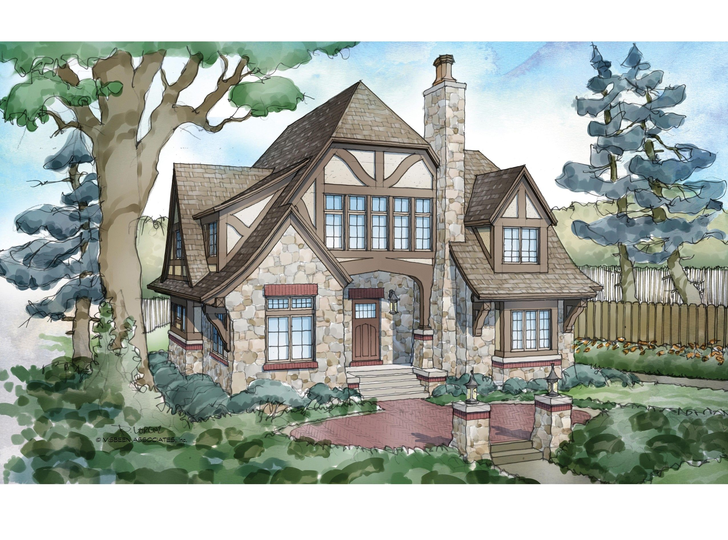 Tudor House Plan with 5824 Square Feet and 5 Bedrooms from Dream