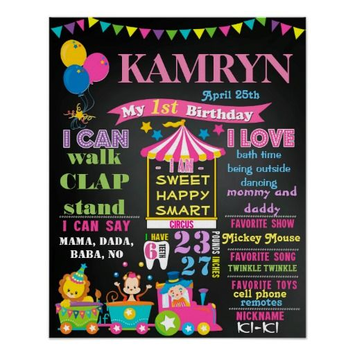 16x20 Circus First birthday chalkboard poster pink