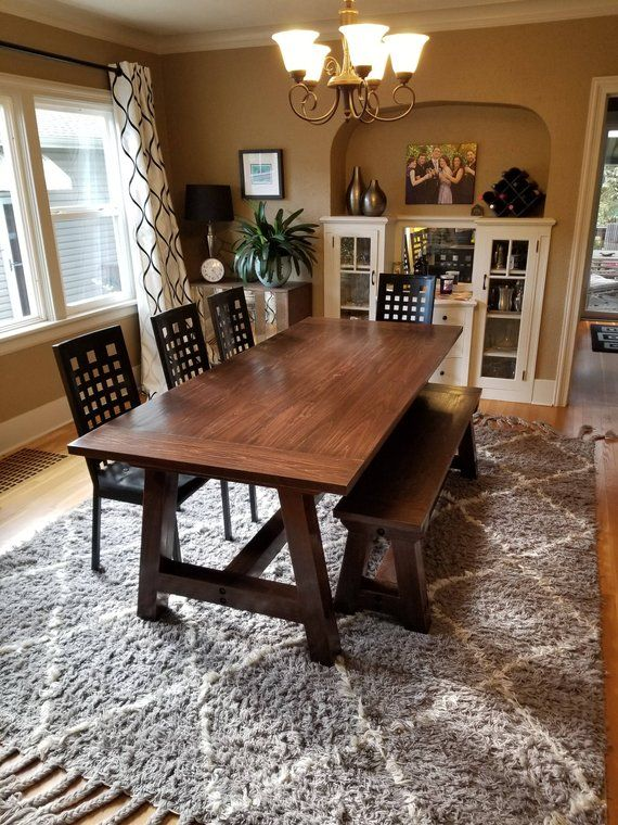 Farmhouse Table Solid Wood Dining Kitchen Harvest
