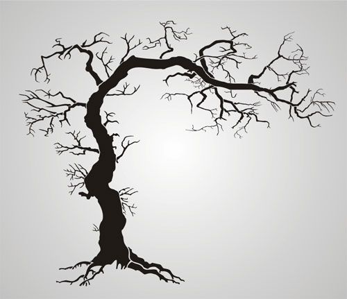Large Tree Of Life Stencil Twisted Tree With Roots Gothic