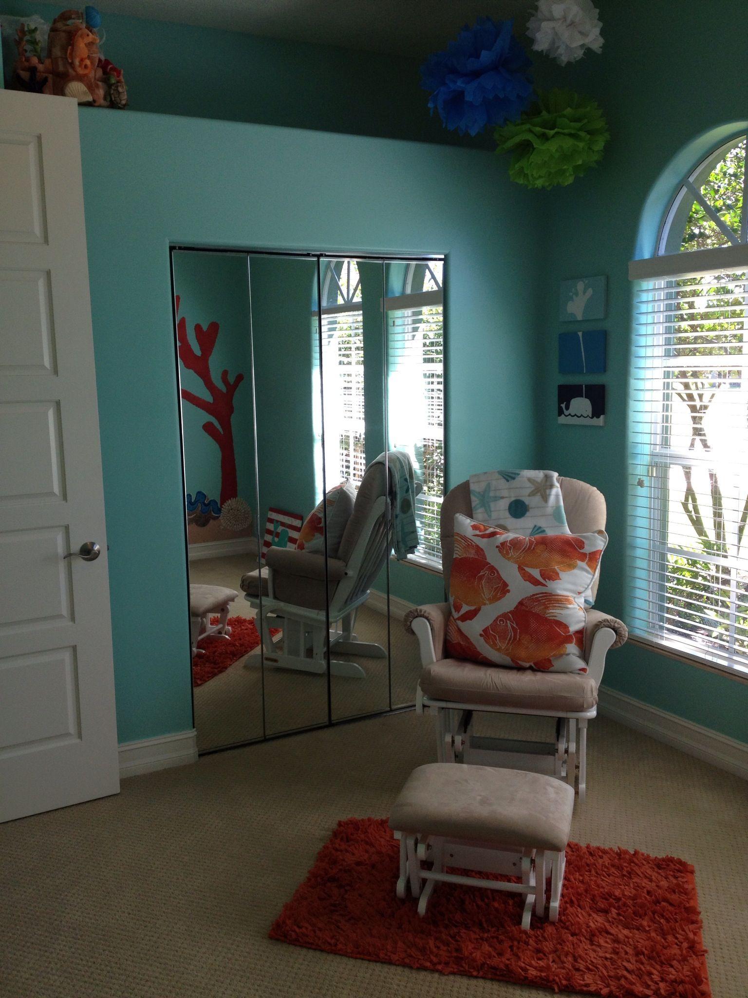Ocean themed nursery 3 our little Evan Poma s room Rocking chair