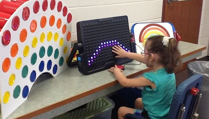 This is a seven-day lesson plan from Loge Elementary School where we spend one day on each color of the rainbow using a LightAide and tactile elements.