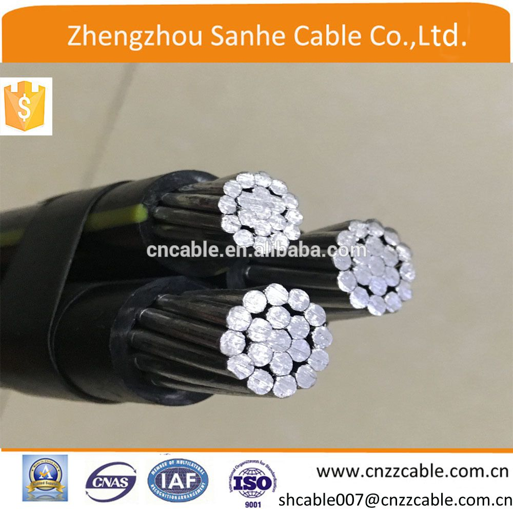 0.6/1kv Henan cable Triplex Aluminum wire /ABC Power CABLE 2*4/0AWG+ ...