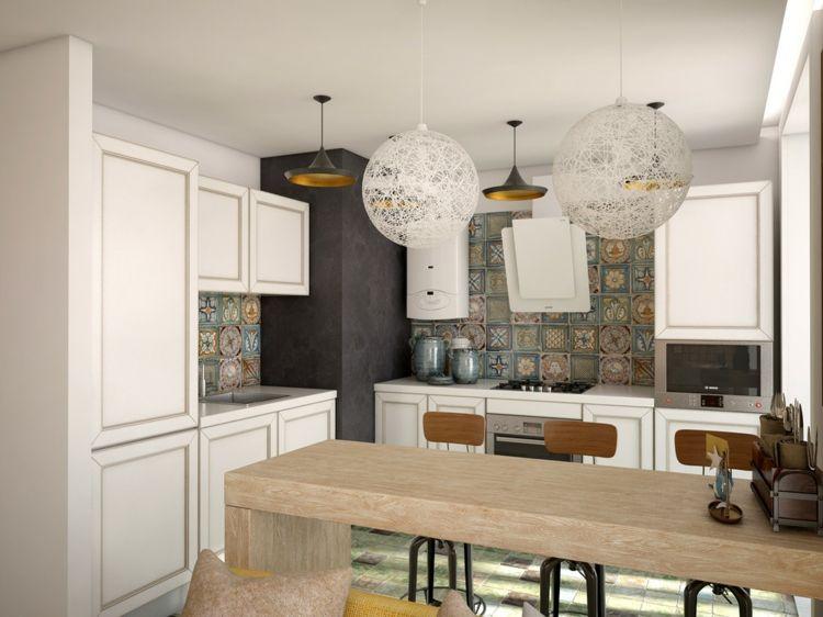 Wandgestaltung der Küche mit Fliesen, Tapete  Wandfarbe Pinterest