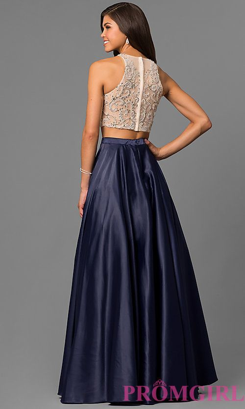 fcb98d36371 Image of two-piece long satin prom dress with jeweled bodice. Style   DQ-9716 Back Image