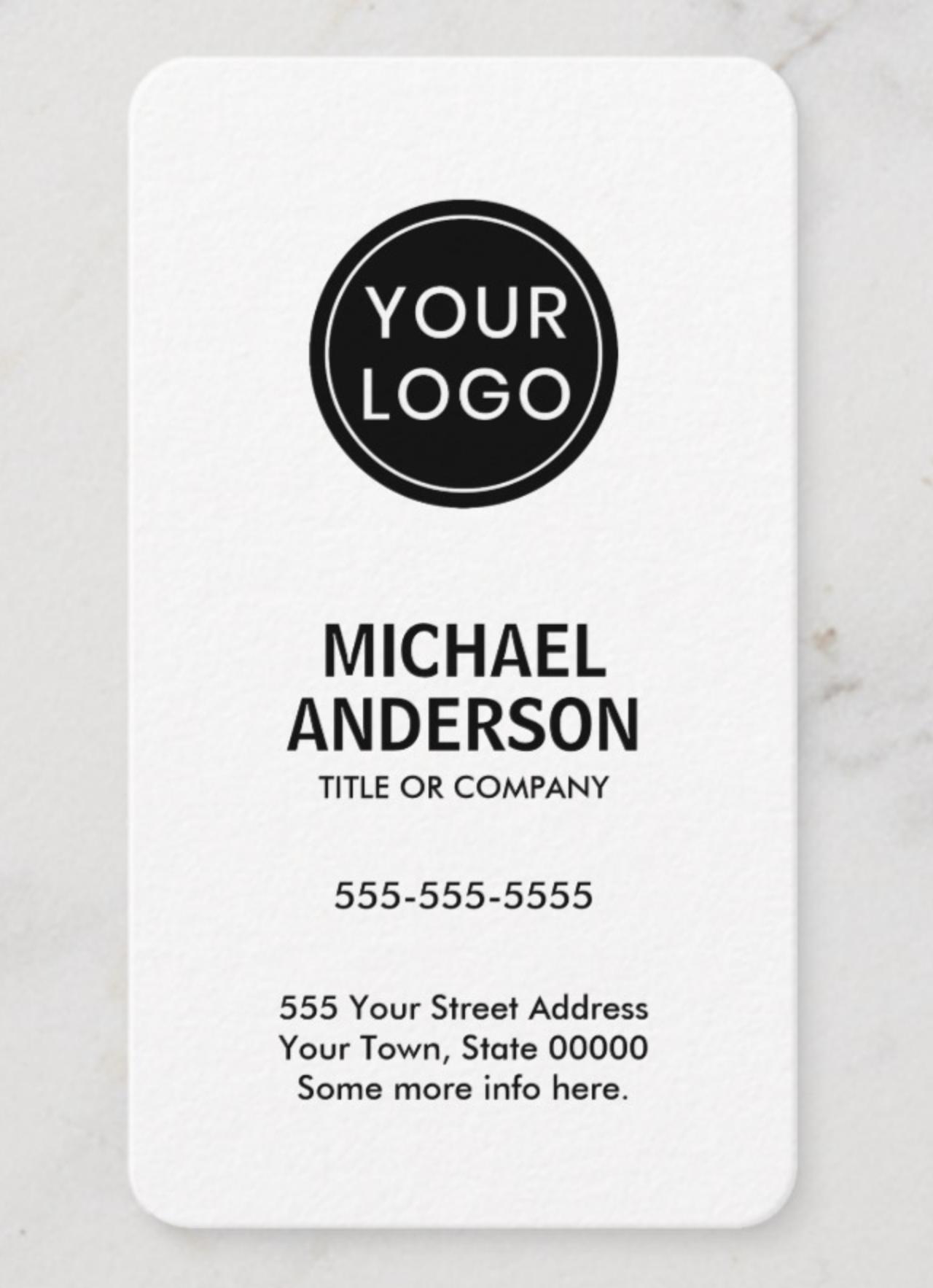 Custom Logo Vertical White Professional Business Card Zazzle Com Professional Business Cards Vertical Business Cards Custom Logos