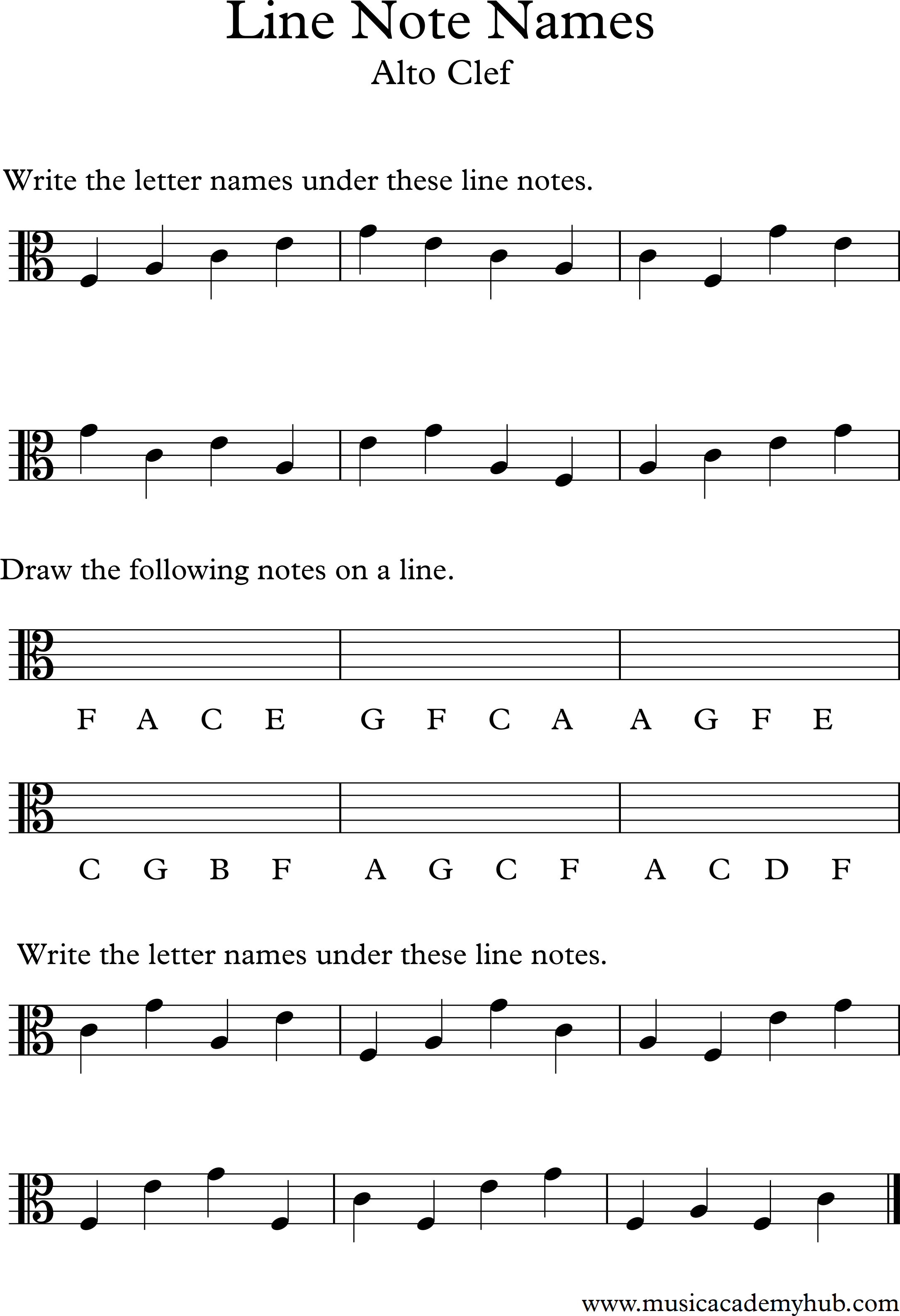 Name These Line Notes In The Alto Bass And Treble Clefs