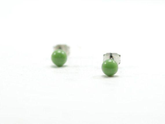Olive Green Stud Earrings 4mm Oil Tiny Hypoallergenic Ear Modern