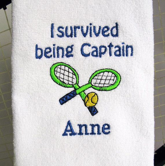 Tennis Captain Gift Personalized Tennis Towel By Tennisgiftstogo 17 95 Tennis Towel Captain Gifts Tennis