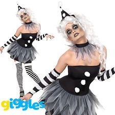 Sinister Pierrot Costume Evil Clown Halloween Womens Ladies Fancy Dress Outfit