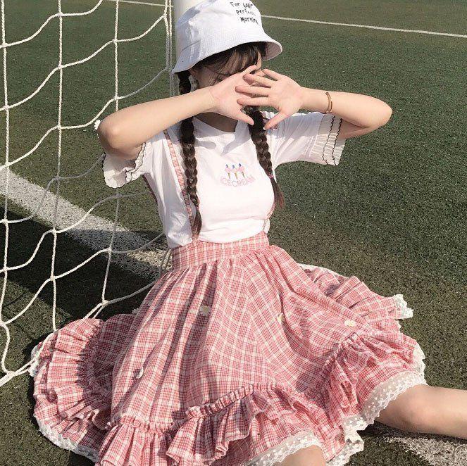 "Lolita suspender plaid skirt SE10316 Coupon code ""cutekawaii"" for 10% off"