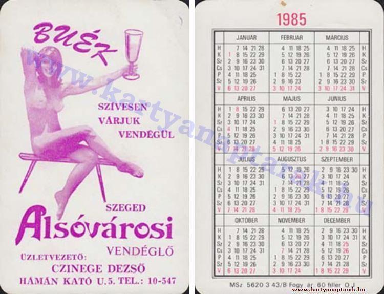 1985 1985 0554 Regi Magyar Kartyanaptarak Pink