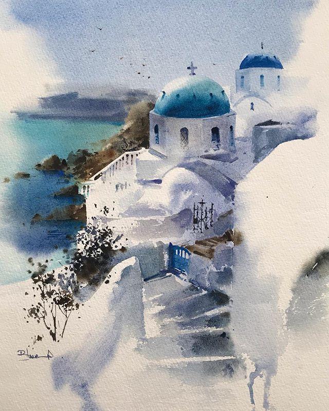 "Blanca on Instagram: """"Vista de Santorini"" Acuarela #art #artwork #painting #blancaalvarezwatercolors #watercolor #aquarelle #acuarela #greece #landscape…"""