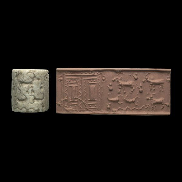 CYLINDER SEAL: 3200 bce, Uruk. Scribes used these to imprint tablets and identify the writer. Sort of link a modern Notary seal!