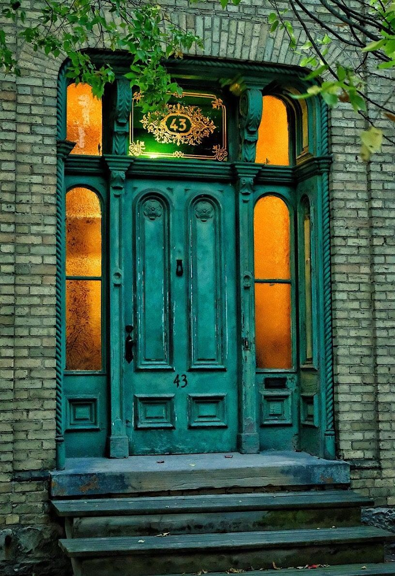 Victorian Era Aged Turquoise Door With Sidelights Looks Like A London Build Warm Lighting Inside On An Early Winter Turquoise Door Beautiful Doors Cool Doors