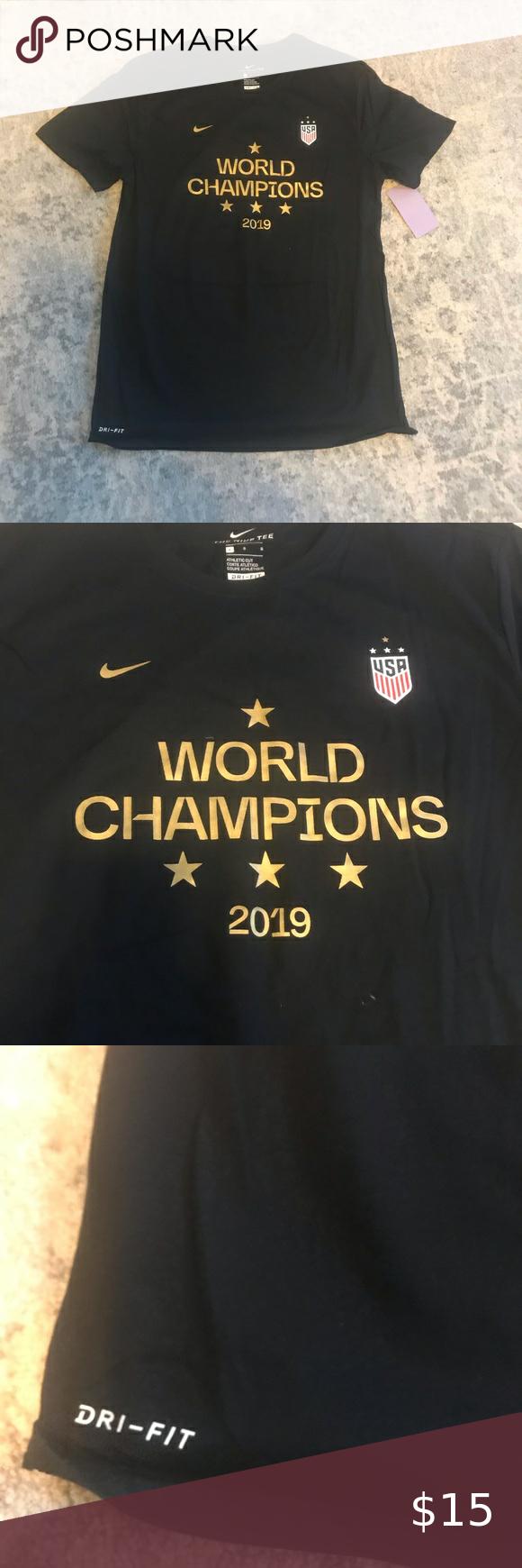 Uswnt World Champions 4 Star T Shirt Large White Pants Women Nike Long Sleeve Workout Shirts [ 1740 x 580 Pixel ]