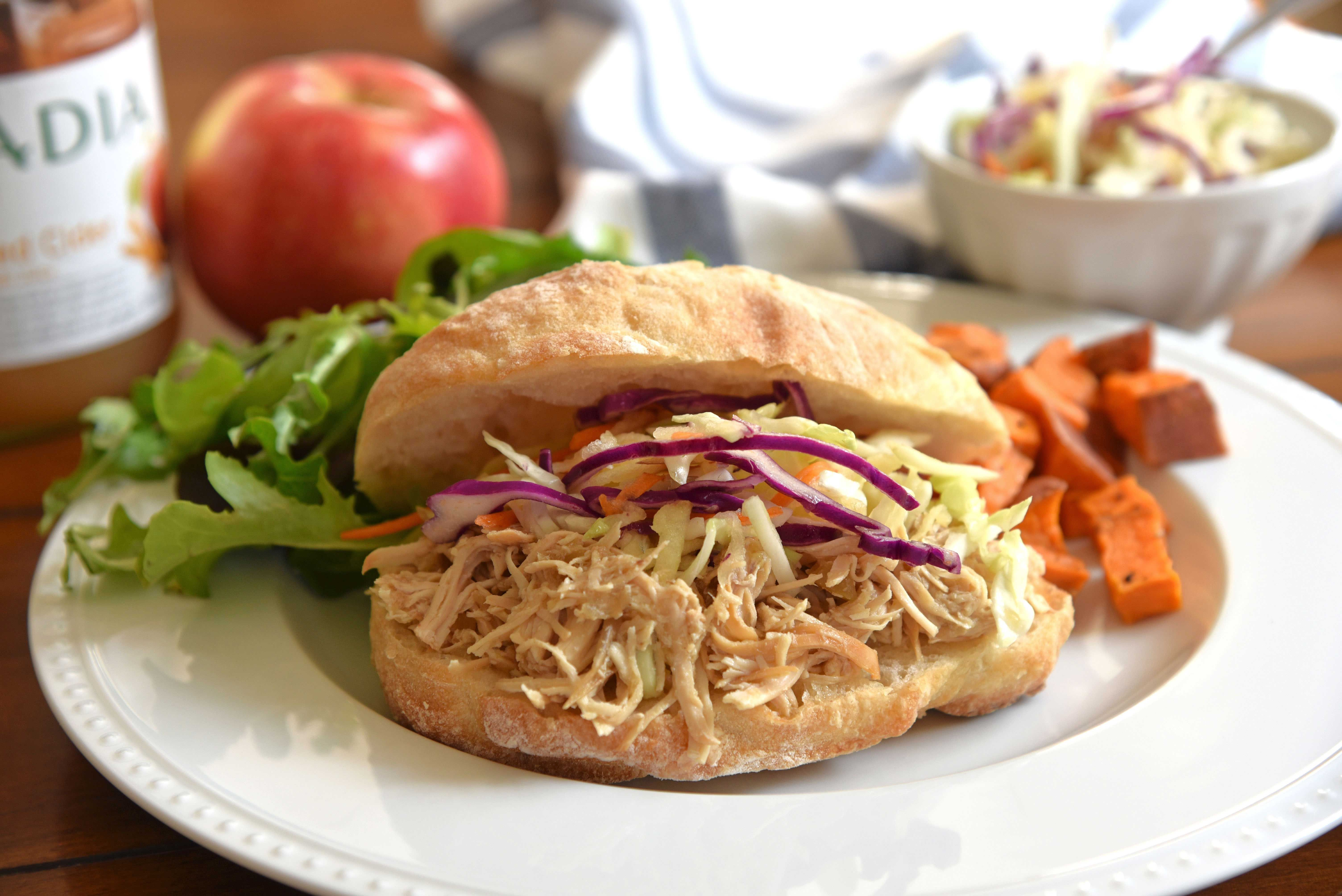 Slow Cooker Apple Cider Chicken Sandwiches | The Inspired Brunette