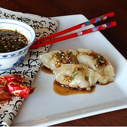 Mandarin Pork Potstickers with Hot-and-Sour Chili Sauce