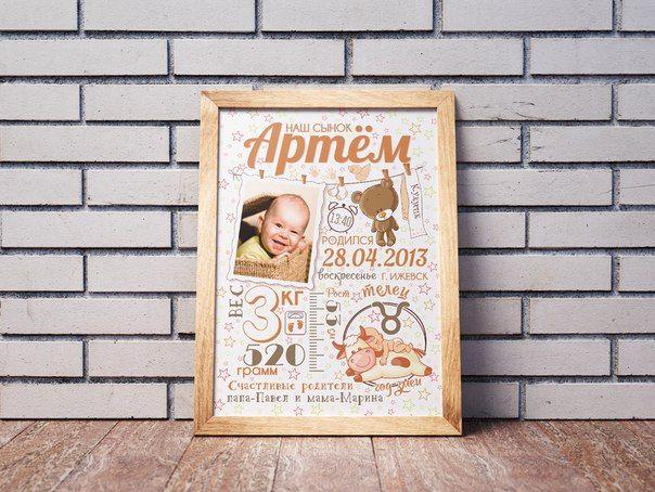 Метрика для новорожденных, постер для новорожденных ...