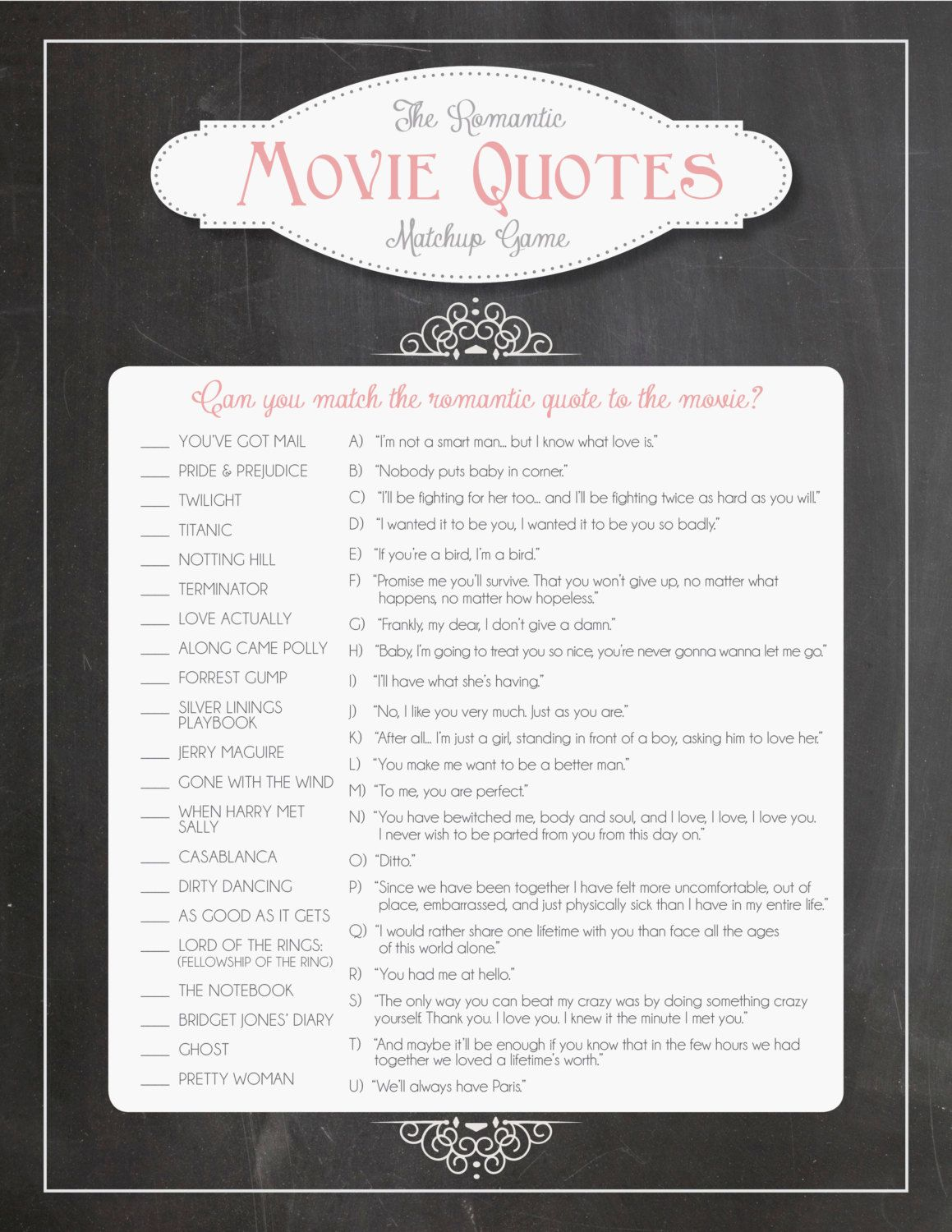 Bridal Shower Game: Romantic Movie Quotes Game in Chalkboard Theme ...