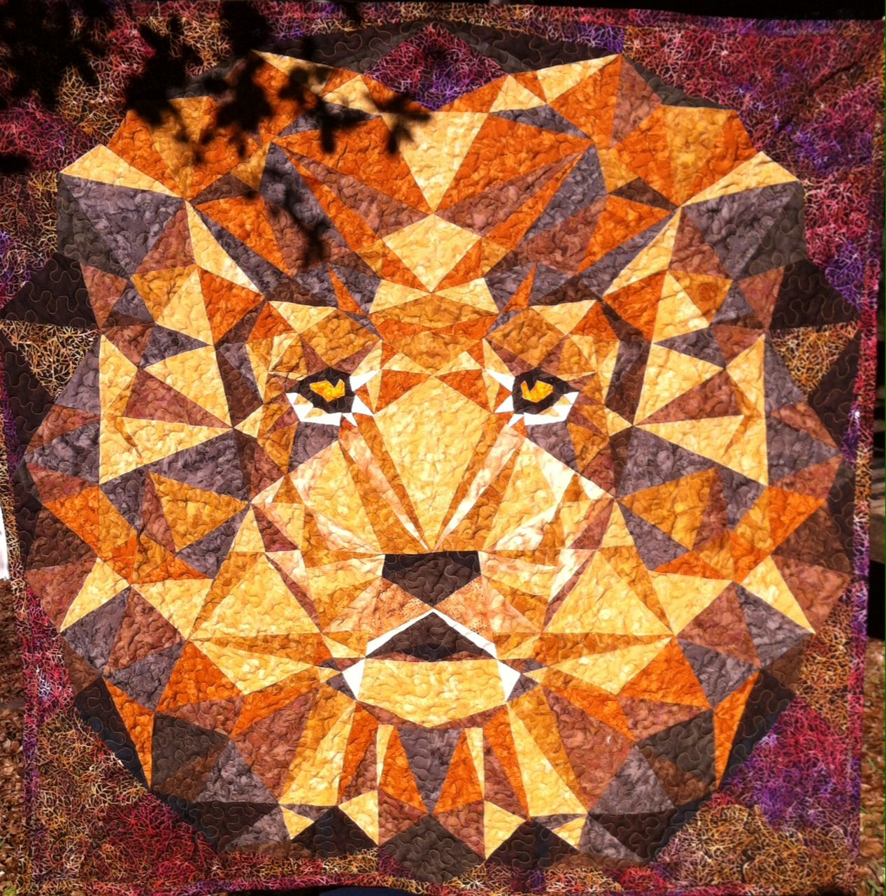 One Cool Cat! Lion #3 60x60, batik fabric, all over stipple ... : lion quilt pattern - Adamdwight.com
