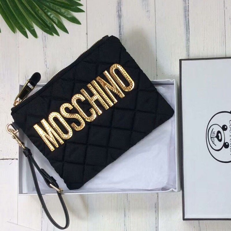 d524e24c7a3 Moschino Gold Moschino Womens Quilted Techno Fabric Clutch Black ...