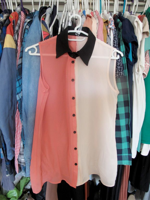 pastel two-tone blouse
