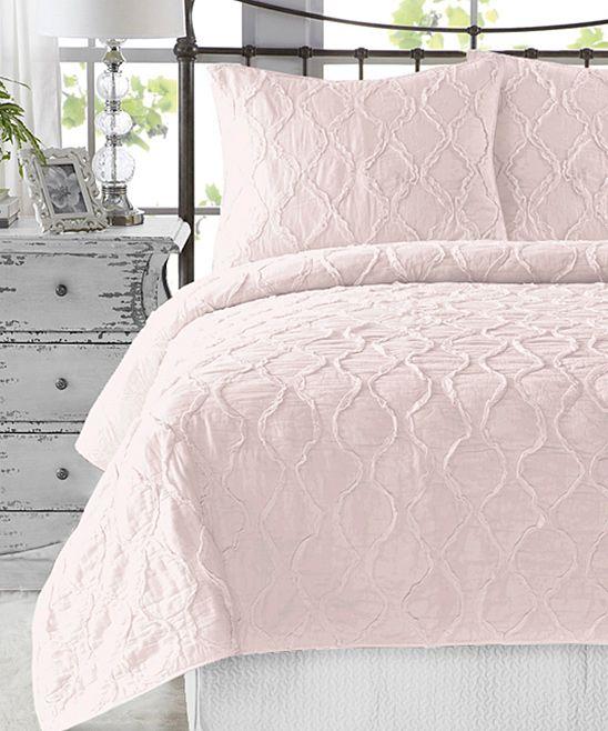 Light Pink Wavy Handcrafted Ruffle Quilt Set Zulily Ruffle Quilt Quilt Sets Bedding Sets