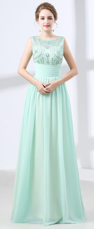 In Stock Hot Sale Chiffon Jewel Neckline A-line Prom Dress With ...