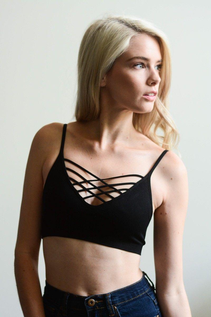 14db0f95a26 shop leto wholesale interwoven strappy front bralette fashion lingerie sport  basic