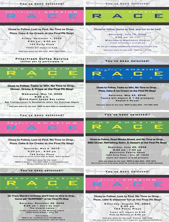Image result for amazing race birthday party invitation Maggieu0027s B - fresh birthday party invitation ideas wording