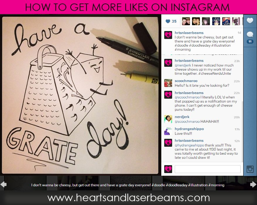 How To Get More Likes On Instagram   Plus Cheese Puns And Funny Cute  Illustrations From