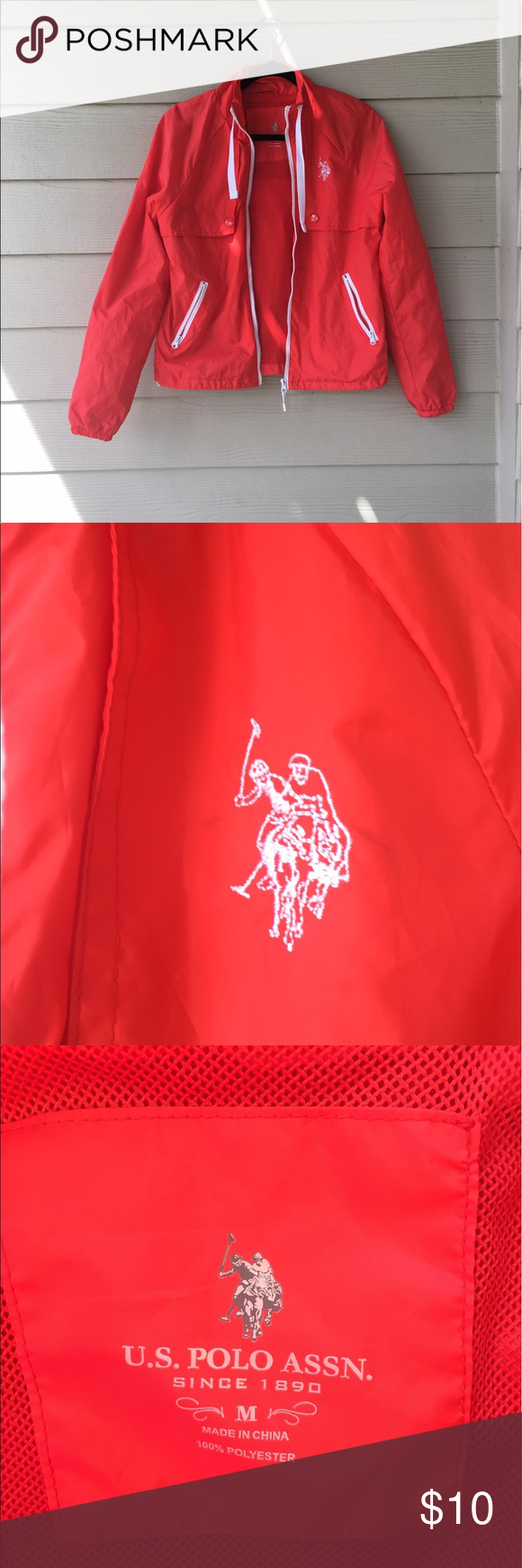 Tomato colored Windbreaker! 🍅🌪 It wonderful condition and perfect for this spring! U.S. Polo Assn. Jackets & Coats