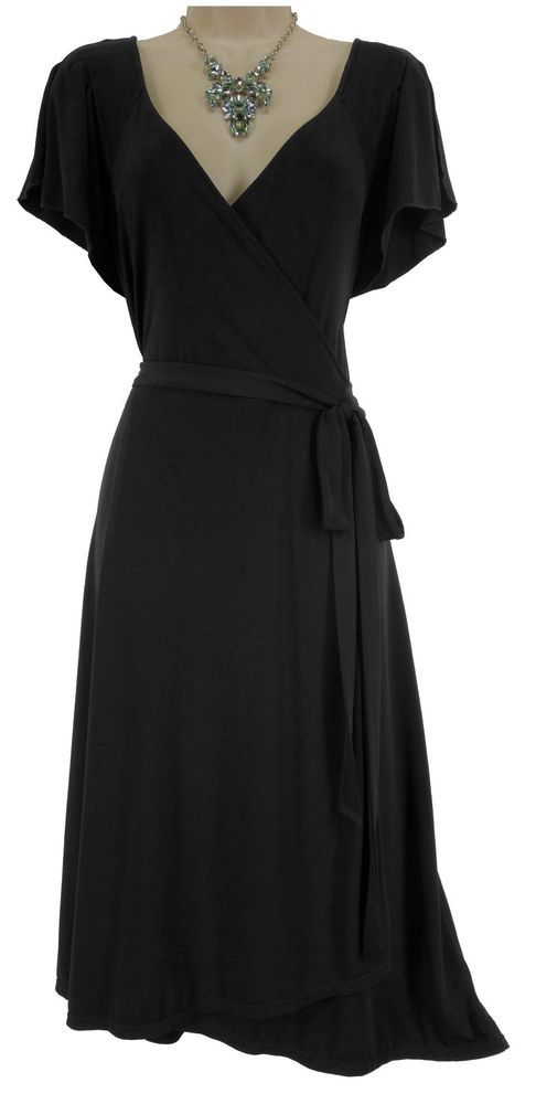 7221cecc76d XL (16-18) SEXY Womens LITTLE BLACK FAUX-WRAP DRESS Fall Day Evening PLUS  SIZE  George  FauxWrap  Versatile