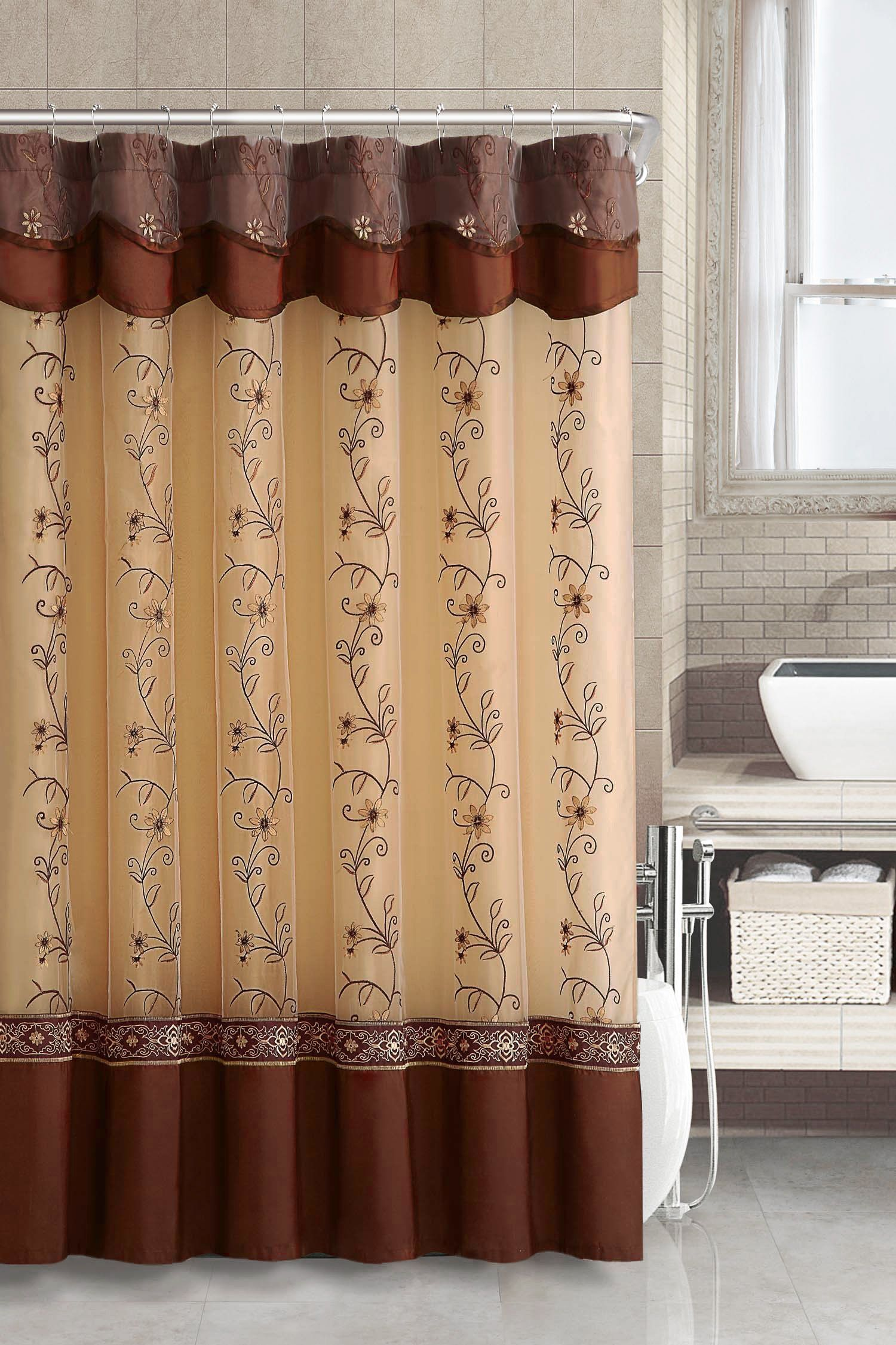 Amazon Com Two Layered Embroidered Fabric Shower Curtain With Attached Valance Cinnamon Fabric Shower Curtains Brown Shower Curtain Curtains