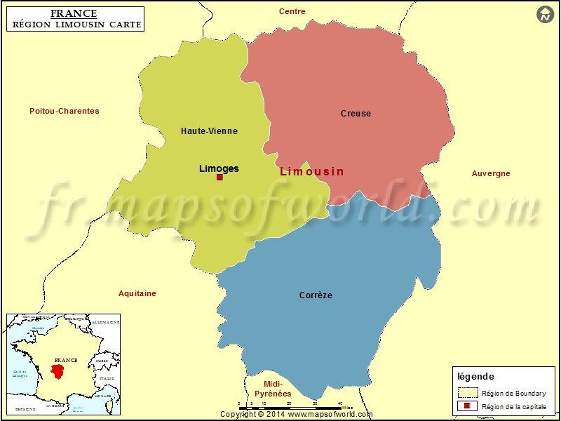 Carte Du Limousin Carte Des Regions Limousin Les Regions De France
