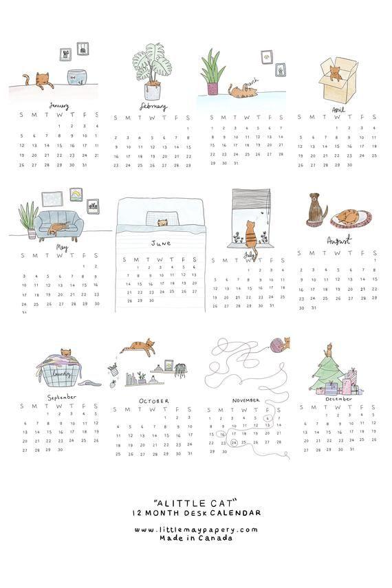 2021 Cat Desk Calendar // Cat Calendar // 2021 cal