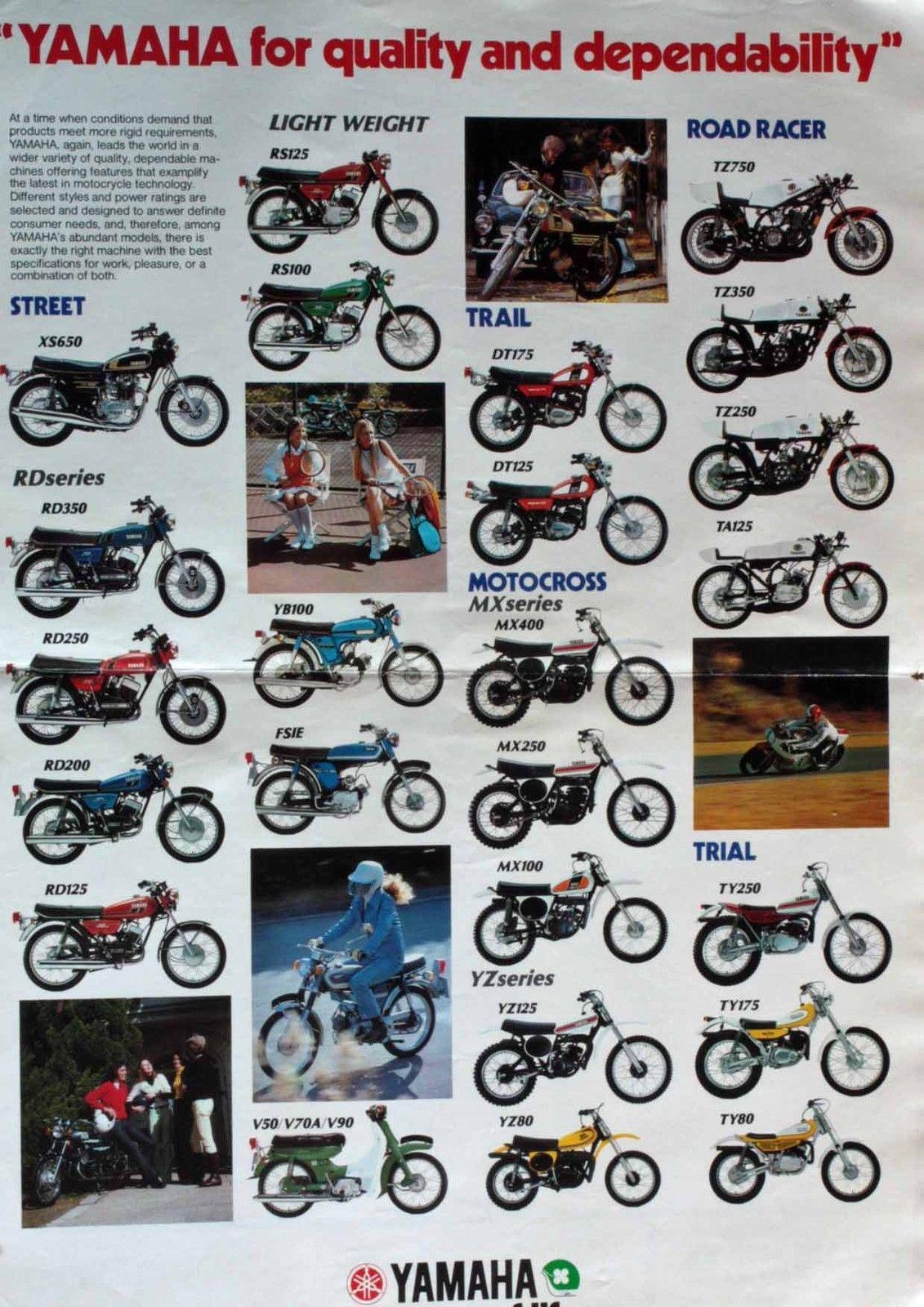 Vintage Original Early 70 S Yamaha Sales Brochure Rare Excellent Vintage Motorcycle Posters Yamaha Yamaha Bikes