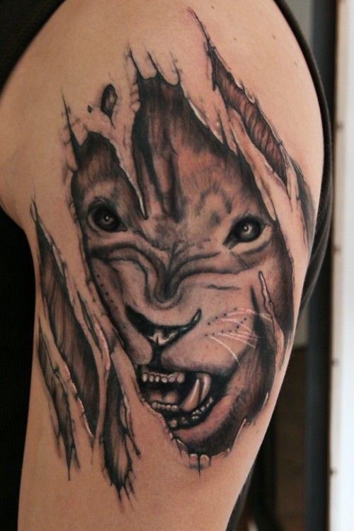 011ea2164 Powerful Lion Tattoo Design: 3d Lion Tattoo Design ~ lookmytattoo.com Tattoo  Design Inspiration