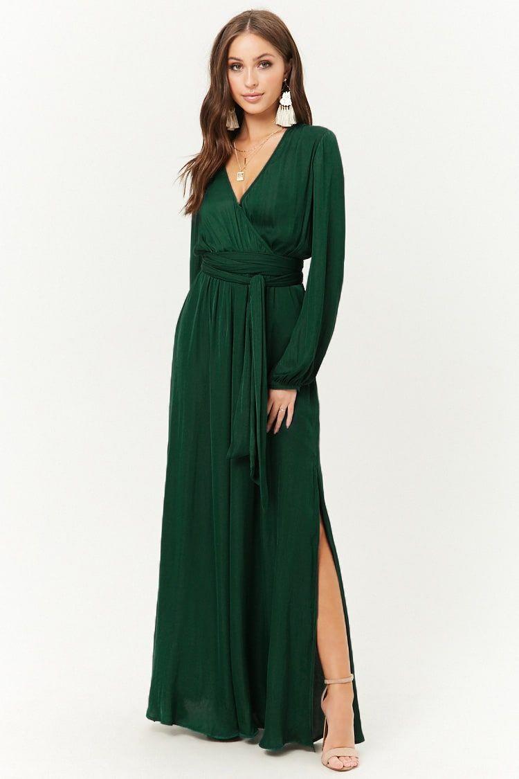 Belted Surplice Maxi Dress Long Green Dress Maxi Dress Green Maxi Dress [ 1125 x 750 Pixel ]