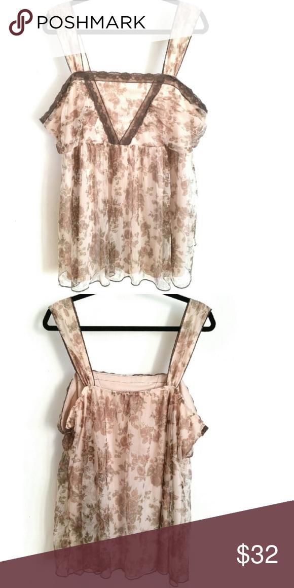 f643996873f571 Lane Bryant Floral Chiffon Sheer Tank Lace BOHO Gorgeous Lane Bryant Cami  has a nude lining