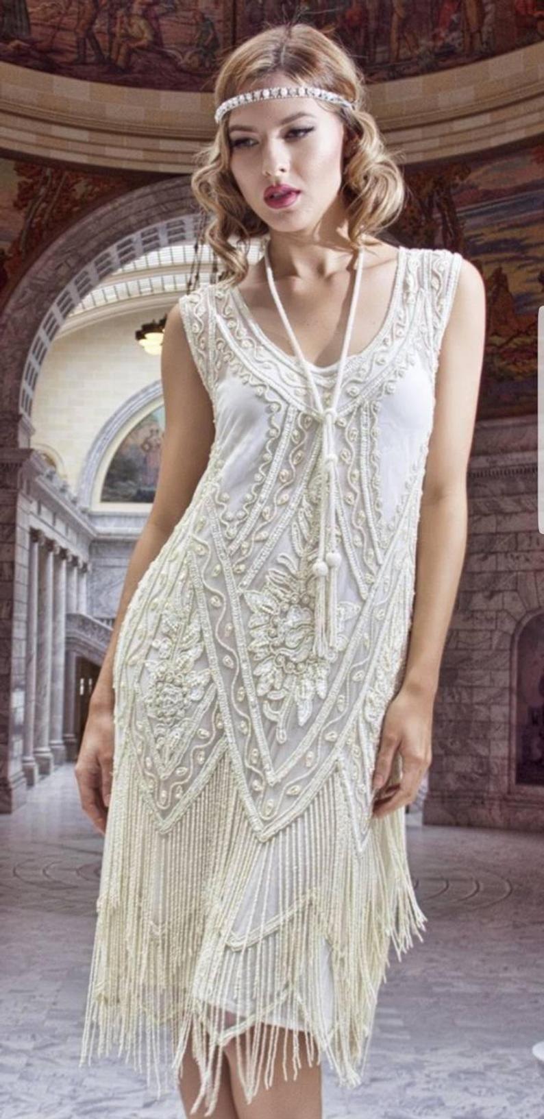 Art deco 1920s ivory beaded vintage flapper wedding dress