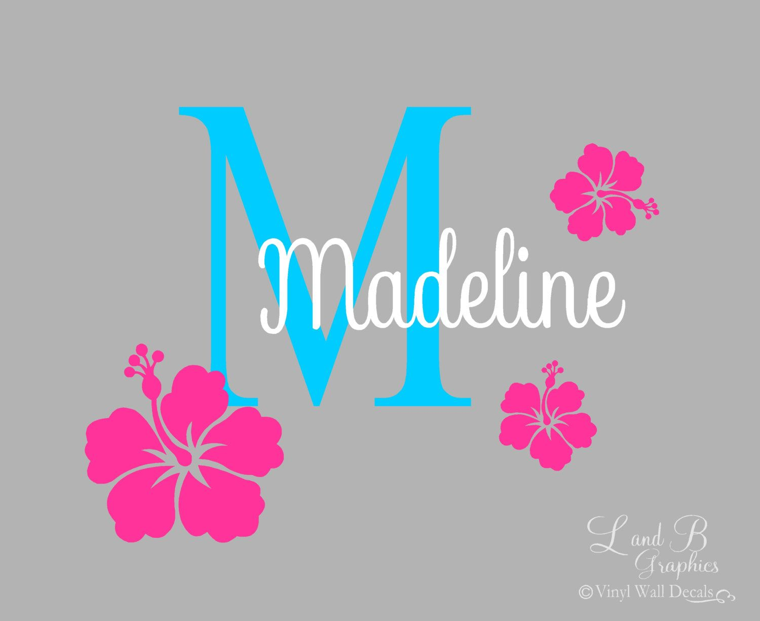 Flower Wall Decal Hibiscus Flower Initial With Name Girl Room - Custom vinyl decals hawaii