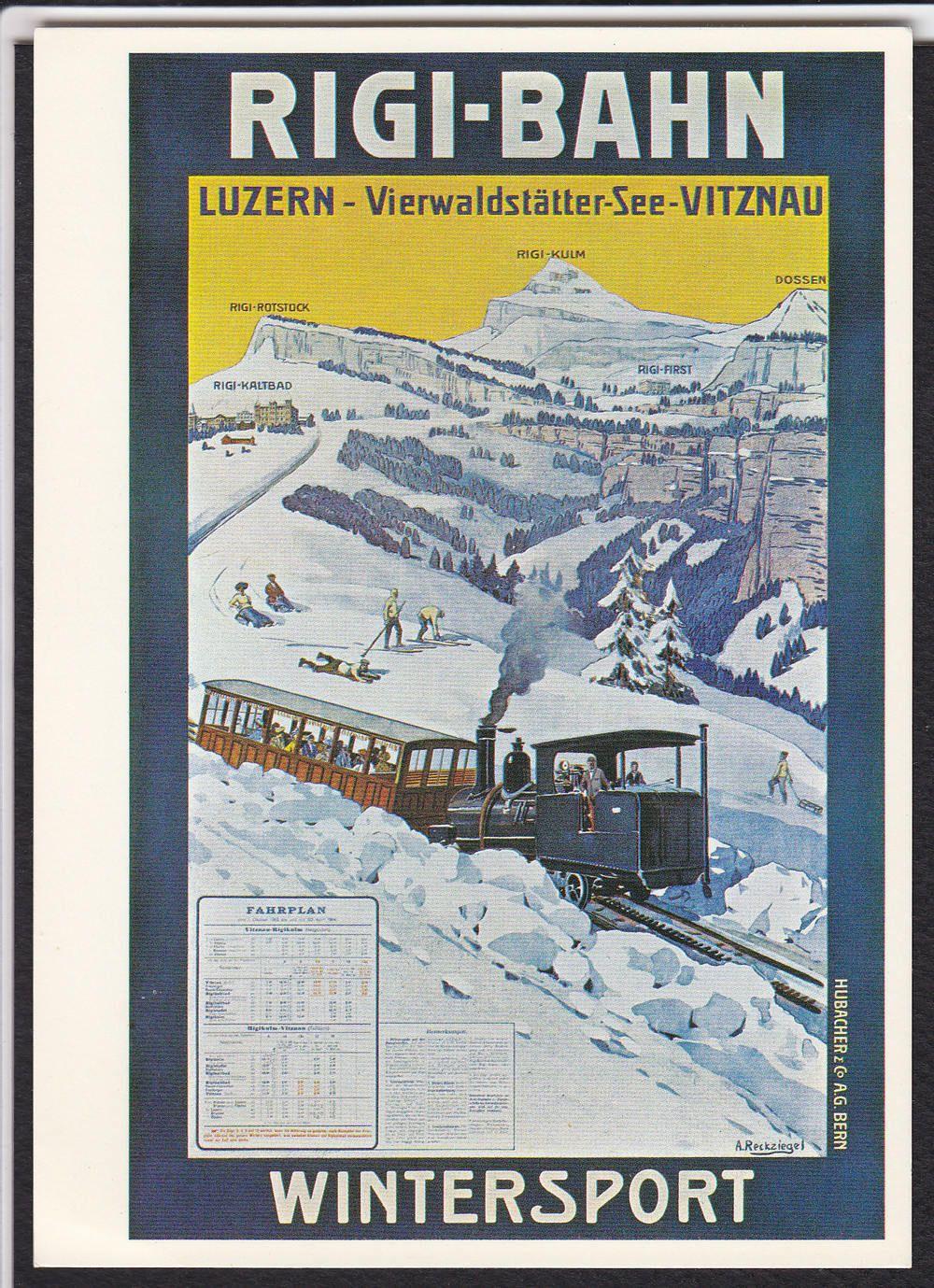 Reckziegel-Wintersport-Rigi-Bahn-Luzern-Switzerland-Modern-Poster Postcard | eBay