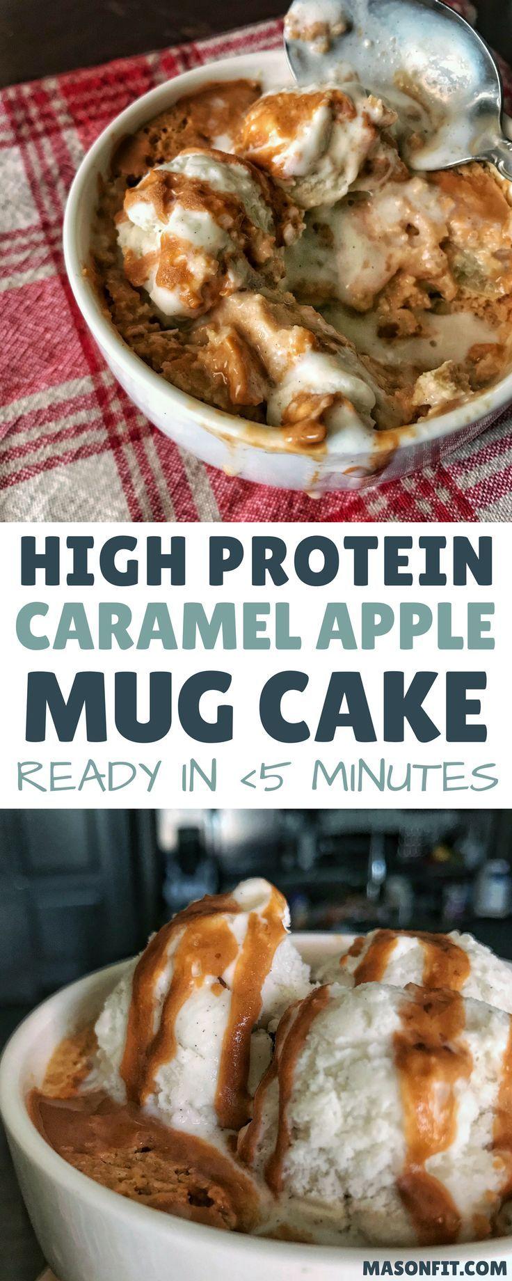 This caramel apple protein mug cake has a prep time under ...
