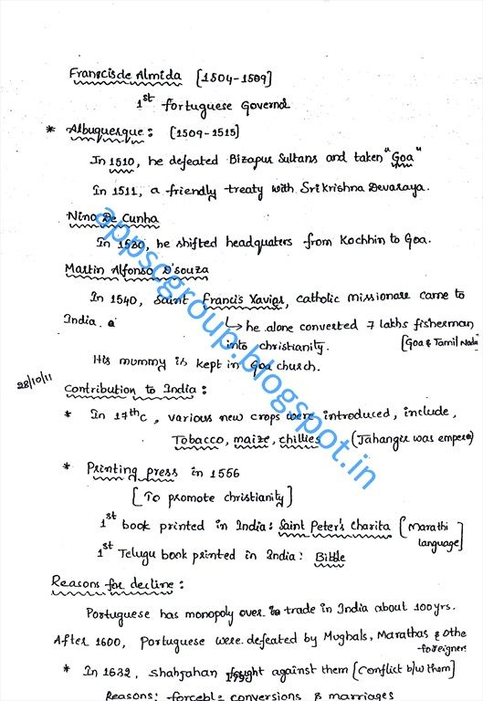 Modern India History Short Notes, Modern history of India